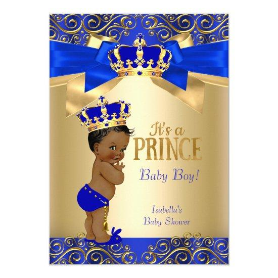 Royal Blue Gold Damask Prince Baby Shower Ethnic Invitations