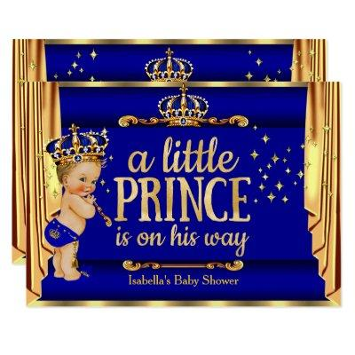Royal Blue Gold Drapes Prince Baby Shower Blonde Invitations