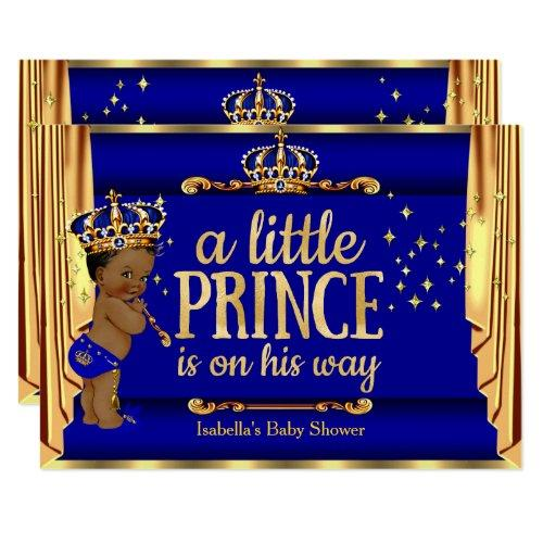 Royal Blue Gold Drapes Prince Baby Shower Ethnic Invitations