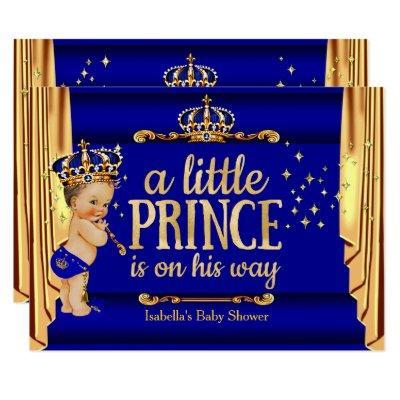 Royal Blue Gold Drapes Prince Baby Shower large Invitation