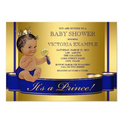 Royal Blue Gold Ethnic Prince Baby Shower Invitations