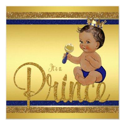Royal Blue Gold Glitter Ethnic Prince Baby Shower Invitations