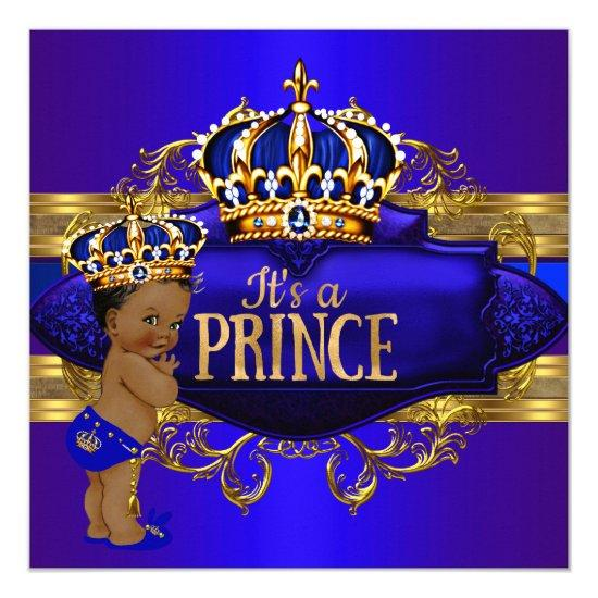 Royal Blue Gold Prince Baby Shower Ethnic Invite