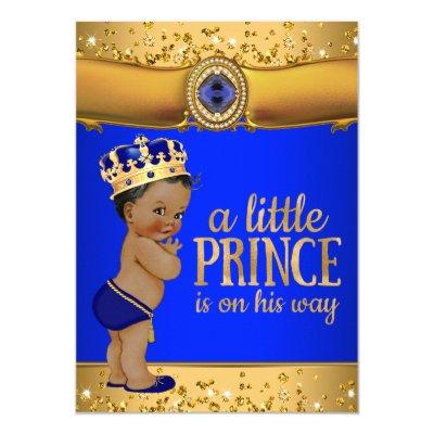 Royal Blue Gold Prince Baby Shower Invitations