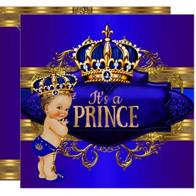 Royal Blue Gold Prince Baby Shower Invitation