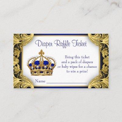Royal Blue Gold Prince Diaper Raffle Ticket Enclosure Invitations