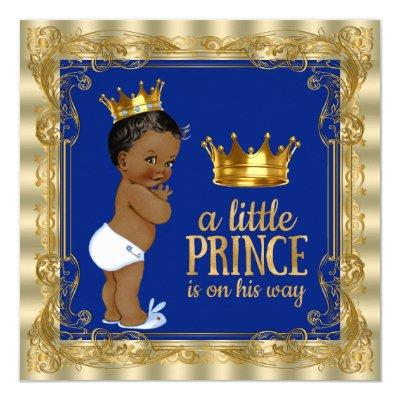 Royal Blue Gold Royal Prince Baby Shower Invitations