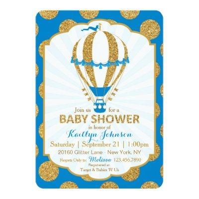 Royal Blue Hot Air Balloon Baby Shower Invitations