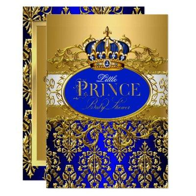 Royal Blue Little Prince Crown Baby Shower sml Invitation