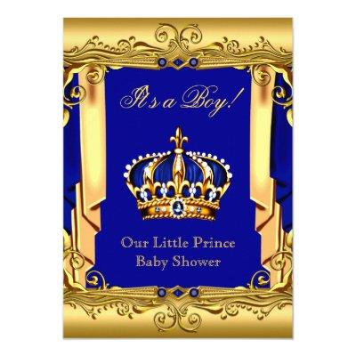 Royal Blue Navy Gold Crown Baby Shower Invitations Baby Shower