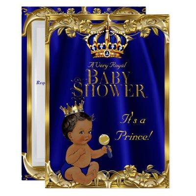 Royal Blue Navy Gold Prince Baby Shower Ethnic Invitations