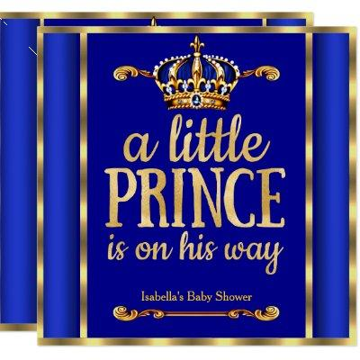 Royal Blue Navy Gold Prince on his way Baby Shower Invitations