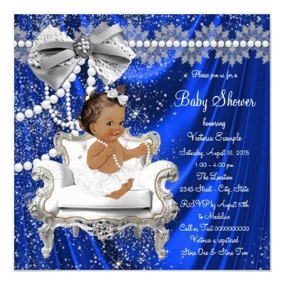 Royal Blue Pearl Chair Ethnic Girl Baby Shower Invitations