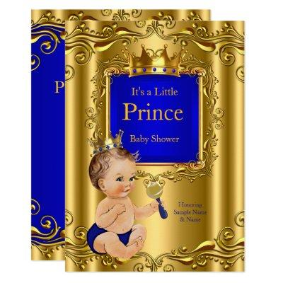 Royal Blue Prince Baby Shower Gold Crown Brunette Invitation