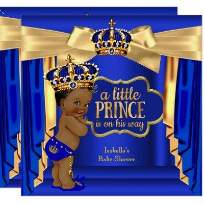 Royal Blue Prince Baby Shower Gold Crown Ethnic Invitations