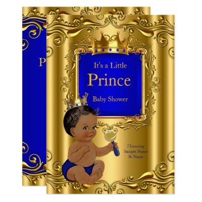 Royal Blue Prince Baby Shower Gold Crown Ethnic Invitation