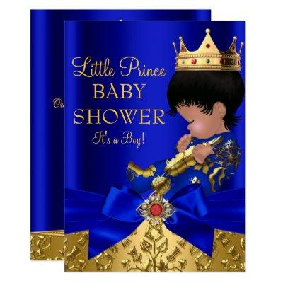 Royal Blue Prince Boy Baby Shower African American Invitations