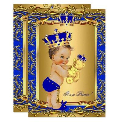 Royal Blue Prince Crown Baby Shower Bear Brunette Invitations