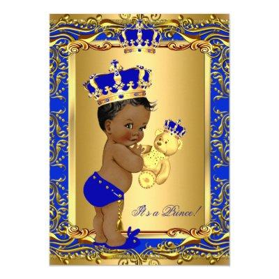 Royal Blue Prince Crown Bear Ethnic Invitations
