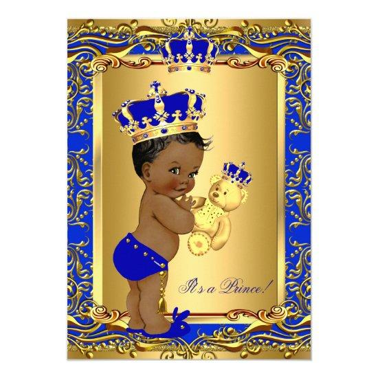 Royal Blue Prince Crown Baby Shower Bear Ethnic Invitations