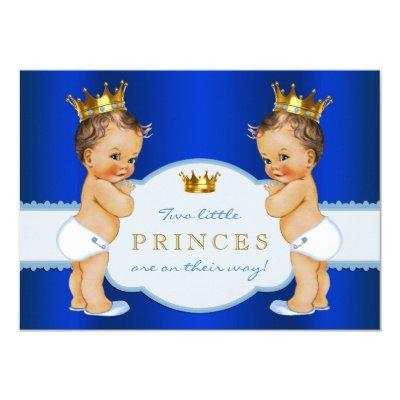 Royal Blue Prince Twin Boy Baby Shower Invitation
