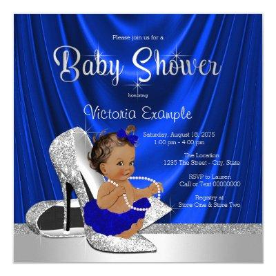 Royal Blue Silver Shoe Baby Shower Invitation
