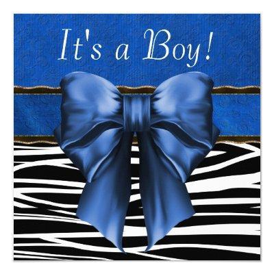 Royal Blue Zebra Baby Shower Invitation