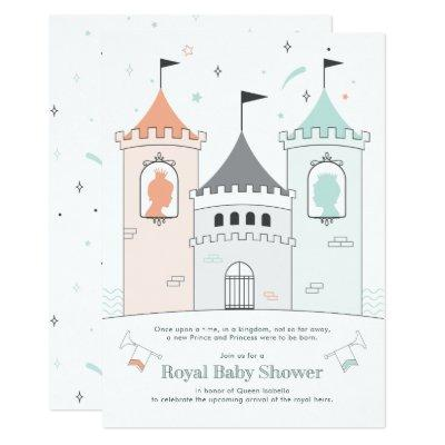 Royal Castle Boy Girl Twin Baby Shower Invitation