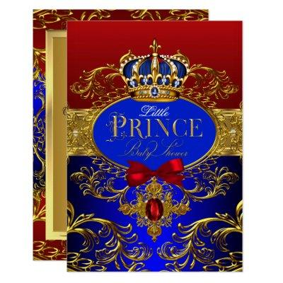 Royal Crown Red & Blue Little Prince Baby Shower Invitations