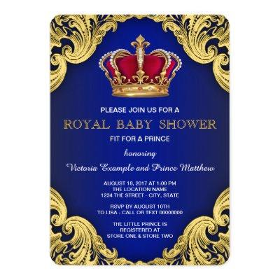 Royal Fancy Prince Baby Shower Invitations