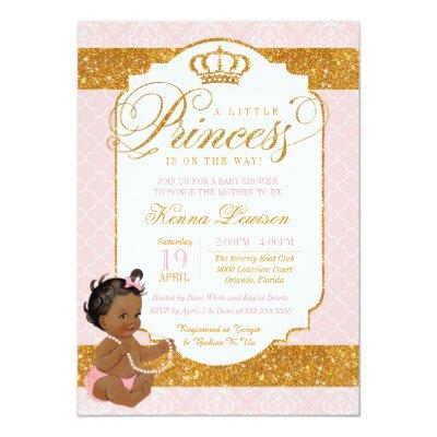 Royal Little Princess Pink and Gold Baby Shower Invitations