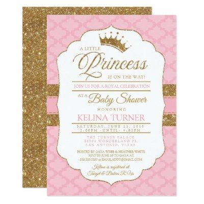 Royal Little Princess Pink Baby Shower Invitations