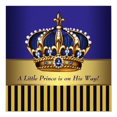 Royal Navy Blue Black Gold Prince Baby Boy Shower Invitation