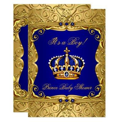 Royal Navy Blue Gold Crown Baby Shower Invitations