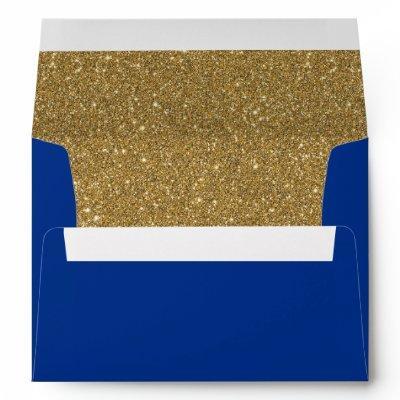 Royal or Navy Blue & Gold Glitter Lined Envelope