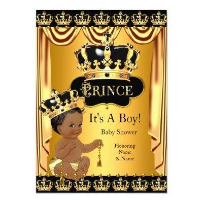 Royal Prince Black Gold Ethnic Boy Invitations
