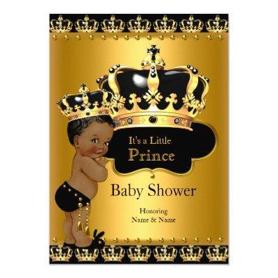 Royal Prince Baby Shower Black Gold Ethnic Invitations
