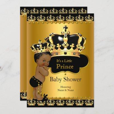 Royal Prince Baby Shower Black Gold Ethnic Invitation
