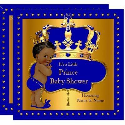Royal Prince Baby Shower Blue Boy Crown Ethnic Invitations