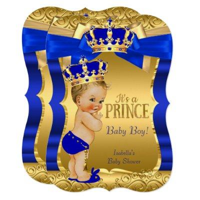Royal Prince Baby Shower Blue Gold Bow Blonde Invitation