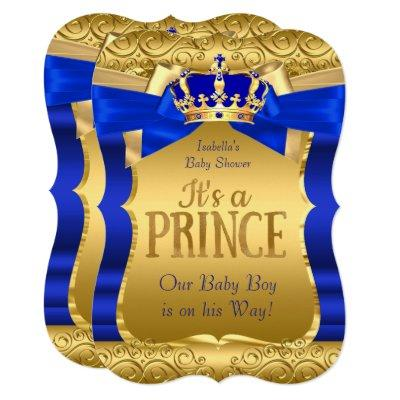 Royal Prince Baby Shower Blue Gold Bow Boy Invitations