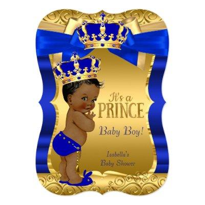 Royal Prince Blue Gold Bow Ethnic Invitations