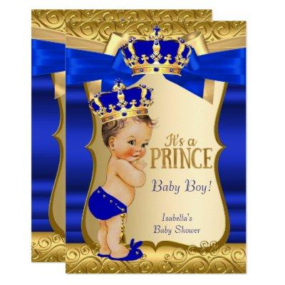 Royal Prince Baby Shower Blue Gold Damask Brunette Invitations