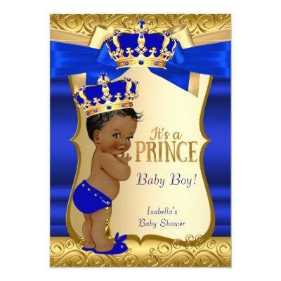 Royal Prince Blue Gold Damask Ethnic Invitations