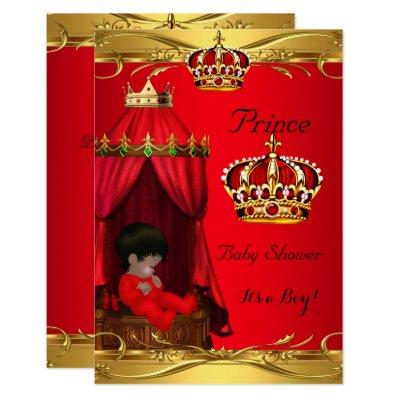Royal Prince Baby Shower Boy Regal Red Crown Invitations