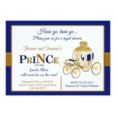 Royal Prince baby shower invitation in blue & gold