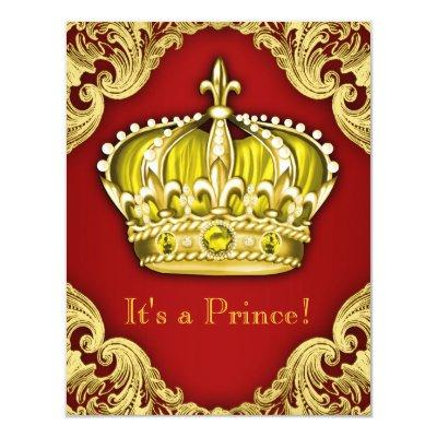 Royal Prince Baby Shower Red and Gold Invitation