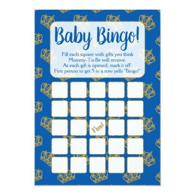 Royal Prince Bingo Baby Shower Game Blue Invitation