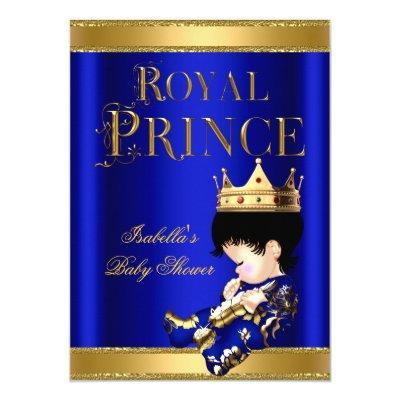 Royal Prince Boy Baby Shower Blue GOLD Invitations