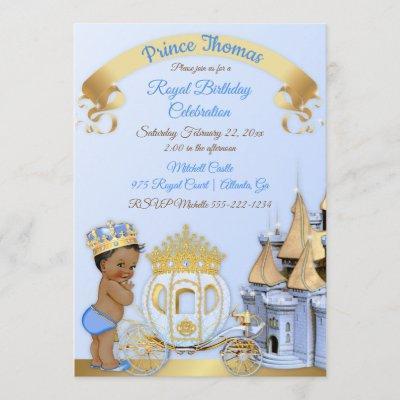 Royal Prince Castle Carriage Blue Gold Boy Invitation